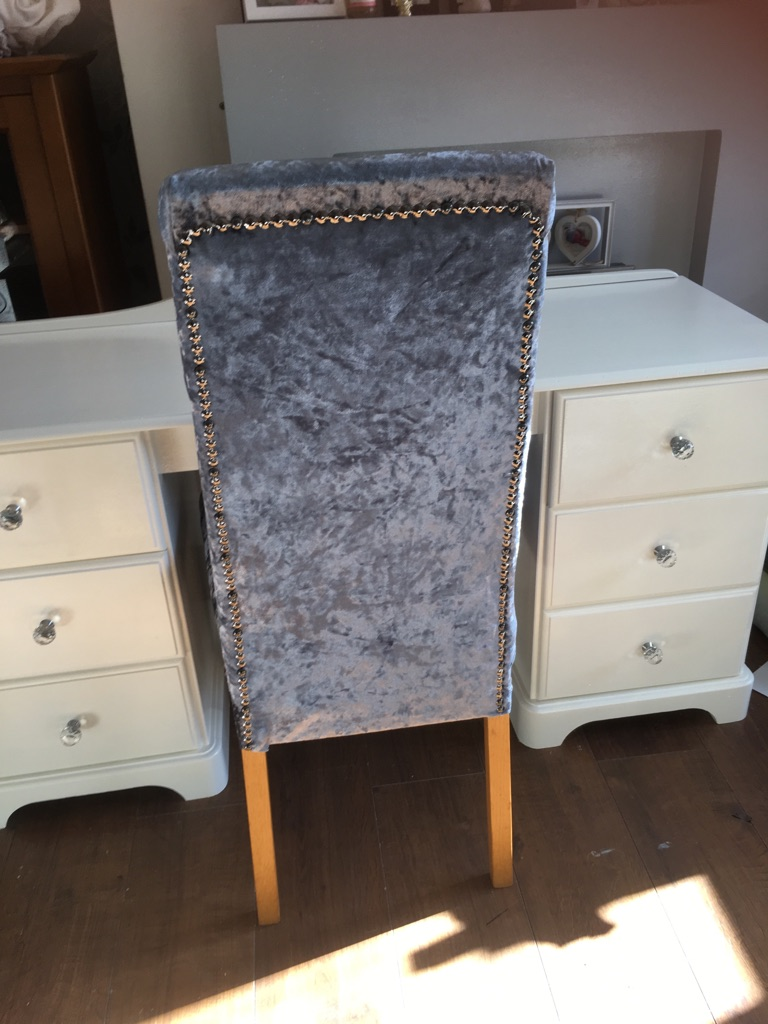 Slate grey chair with grey beading