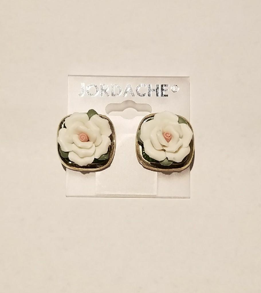 New porcelain rose earrings