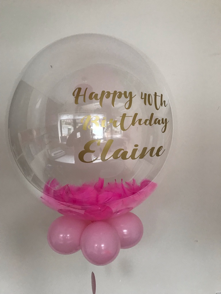 "Personalised Feather 24"" Bubble Balloons"