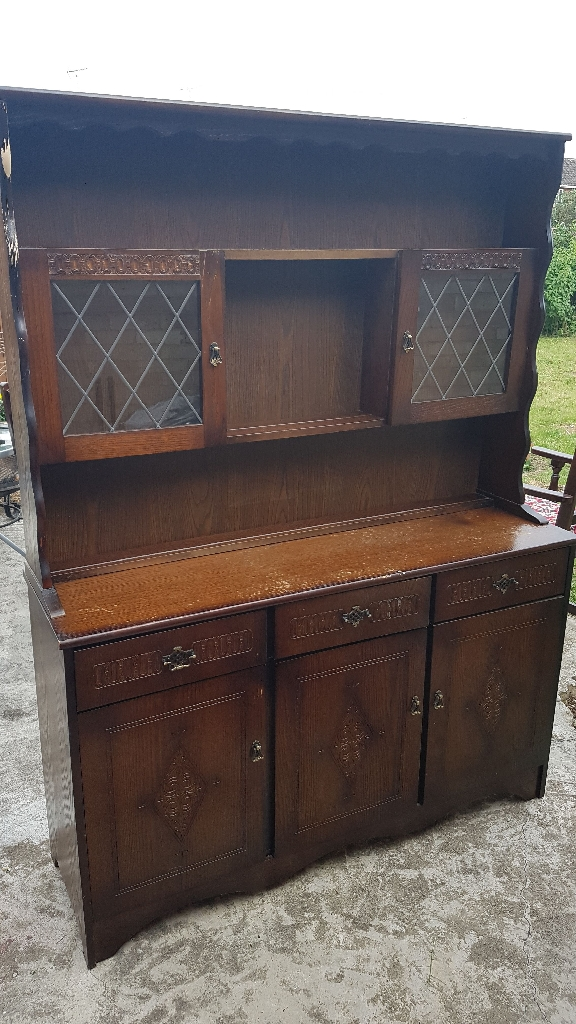 Solid dark oak display cabinet