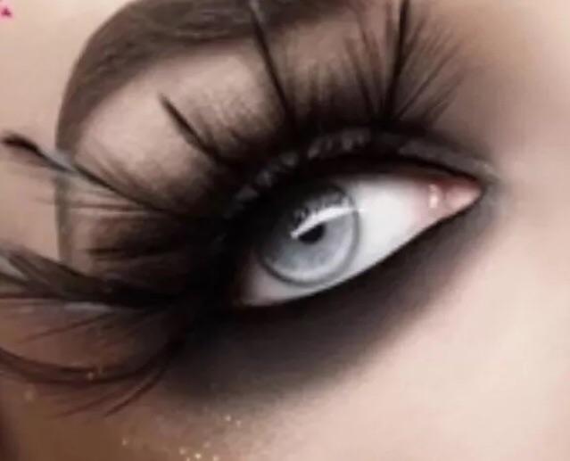 Long Black Feather False Eyelashes