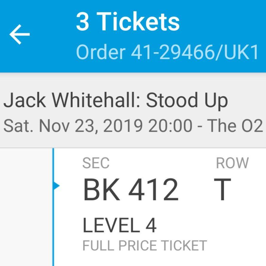 3X Jack Whitehall tickets - 02 London