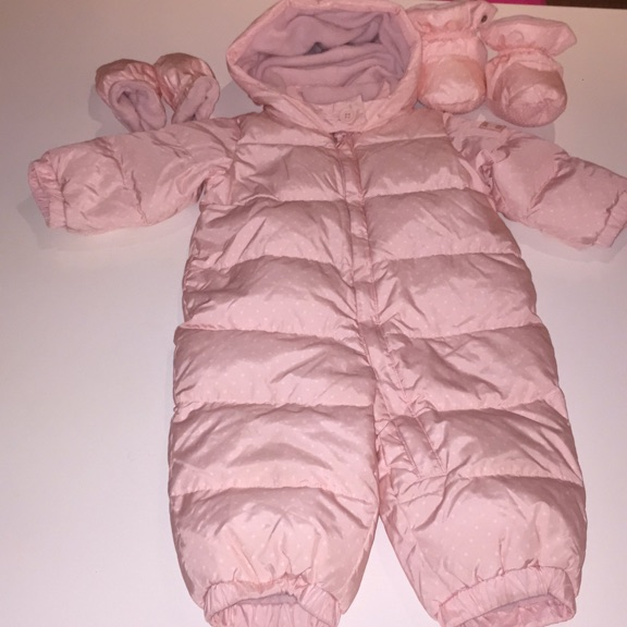 6-12M pink snowsuit by baby Gap