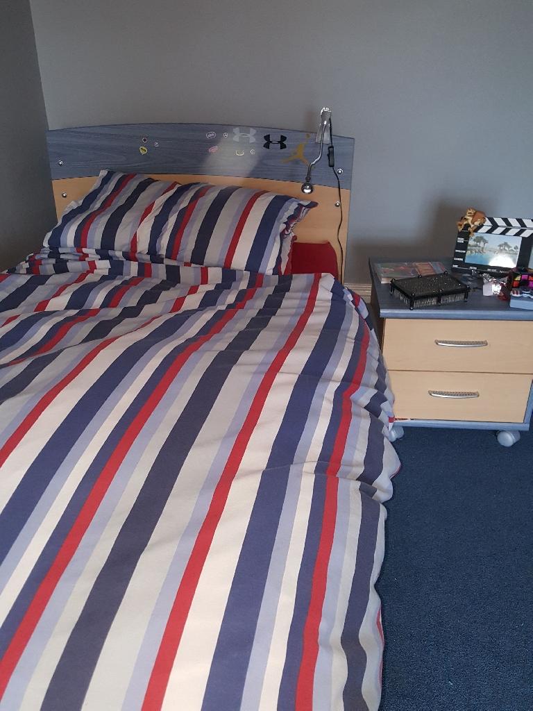 Bedframe matress bedside cabinet and wardrobe