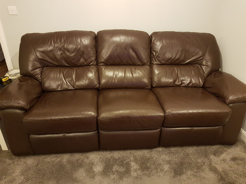 Brown leather 3 seater sofa with one recliner and chair