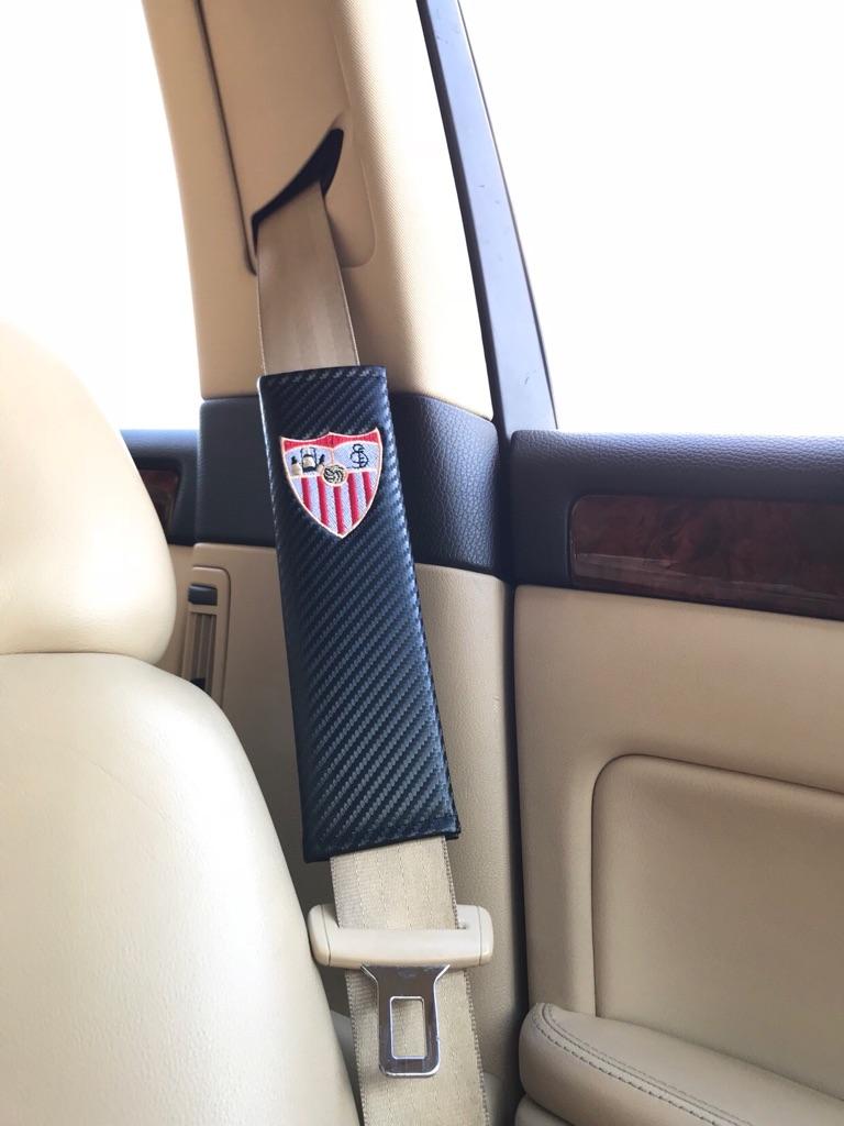 2X Seat Belt Pads Carbon Gift Spain Sevilla Supporter Team Football Cup Fan Stadium