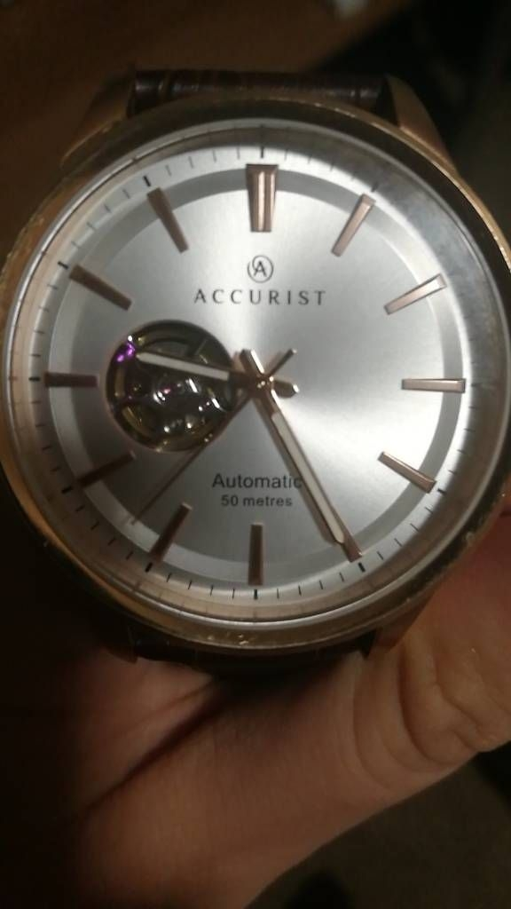 Accurist Rose Gold Automatic Watch Leather Strap
