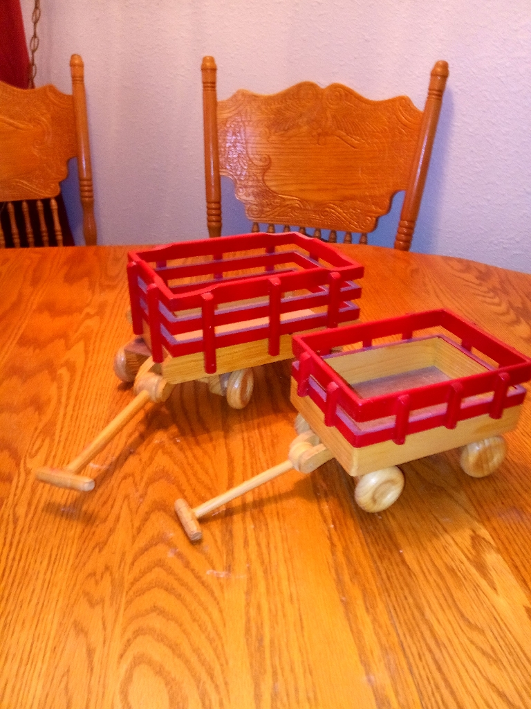 Beautiful doll size stake truck wagons