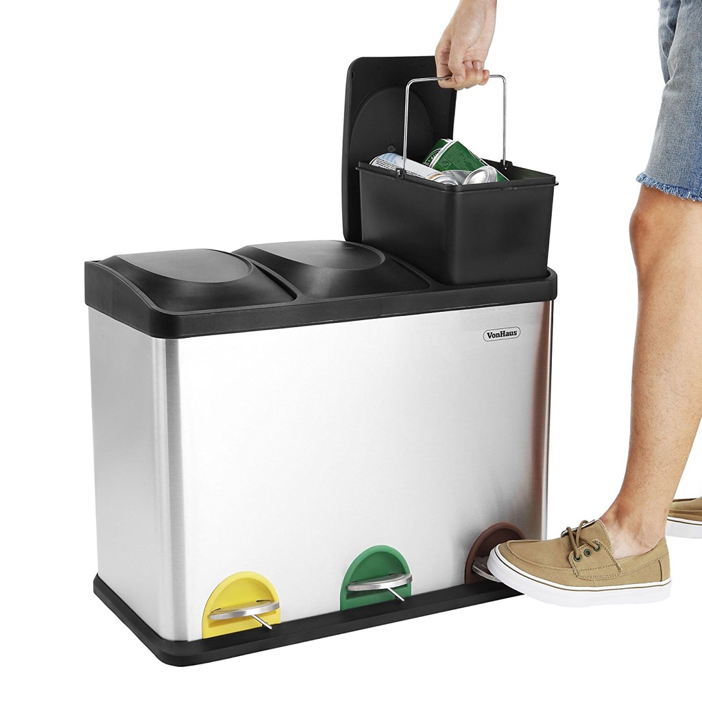 45l recycling bin with 3 compartments