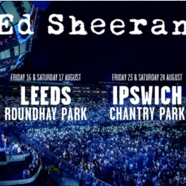 Ed Sheeran (plus special guests) Seated Ticket & Hotel VIP Experience - Pentahotel Ipswich - 23/08/2019