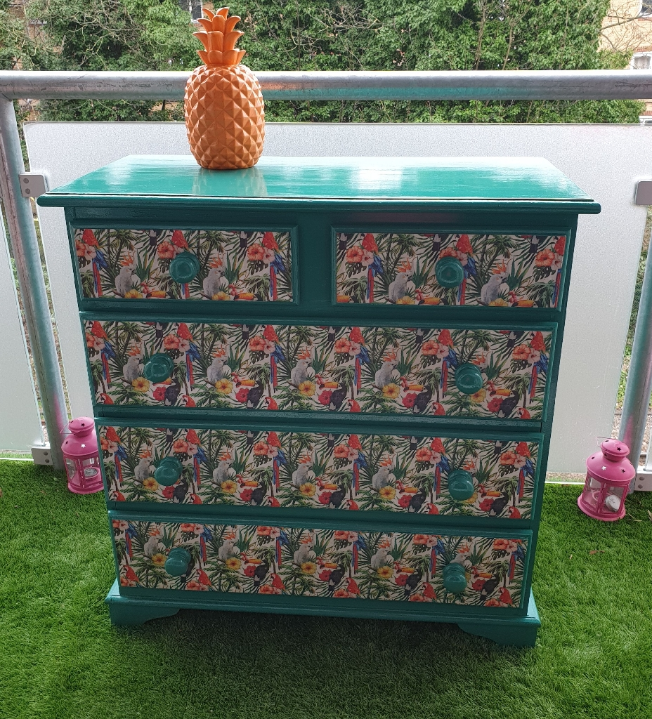 Tropical upcycled chest of drawers