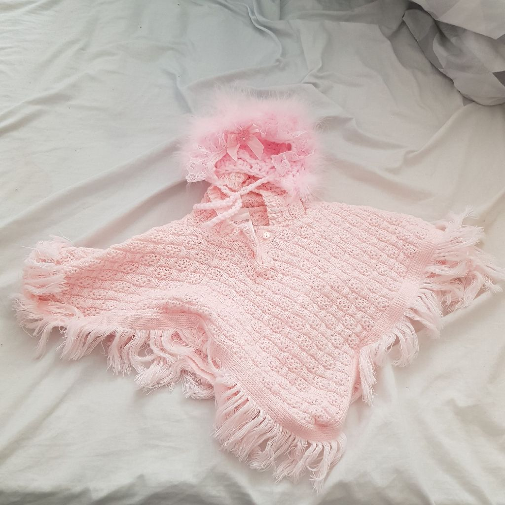 New born poncho with matching hat