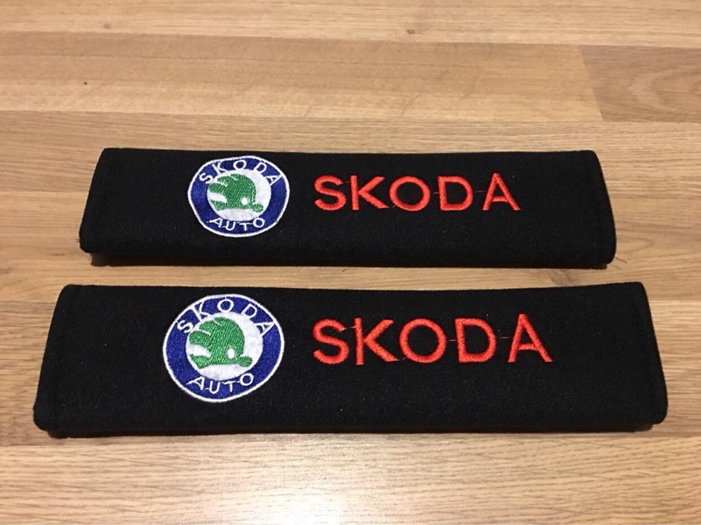 2X Seat Belt Pads Gift Skoda Octavia Fabia Citigo Superb Yeti VRS