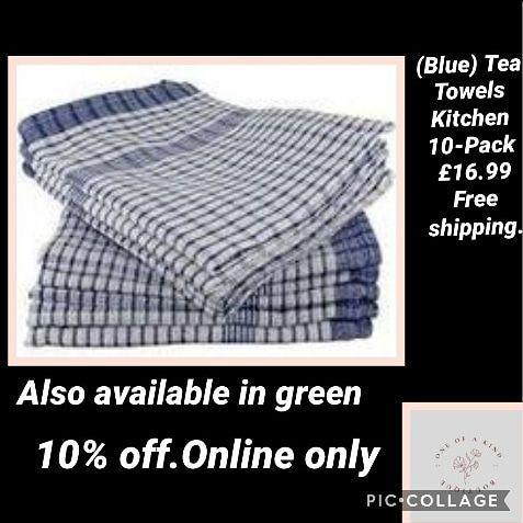 (Blue) Tea Towels Kitchen 10-Pack