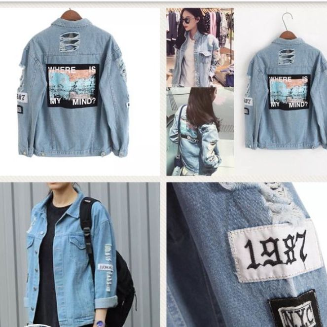 Distressed Denim Jacket   Medium.