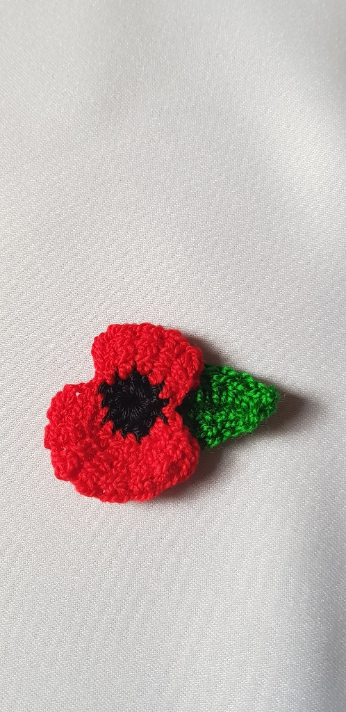 Crochet Poppy Flower Brooch Village