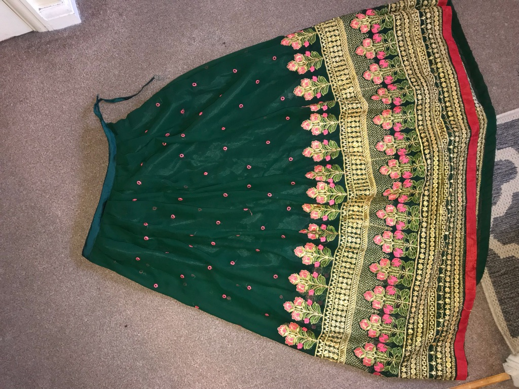 Green Lengha Asian Traditional Dress