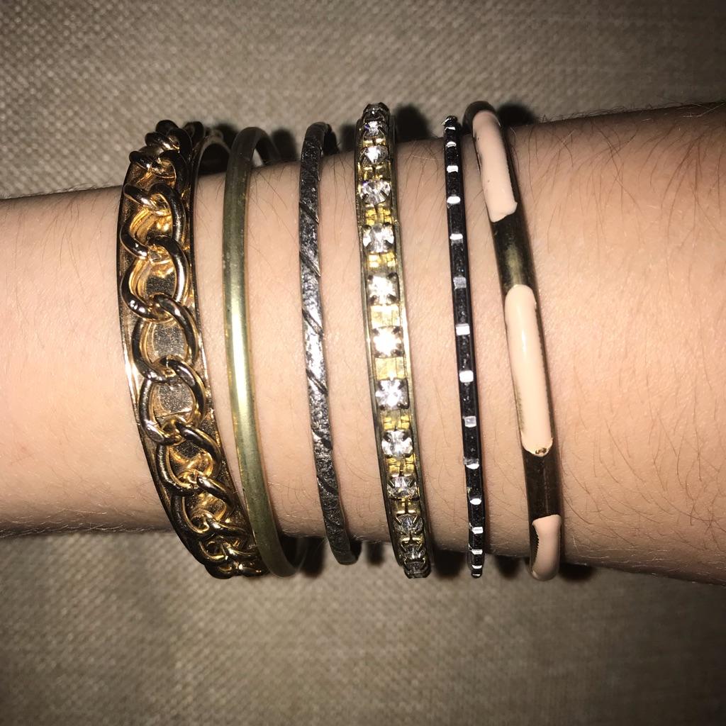 Gold & black bundle of bracelets