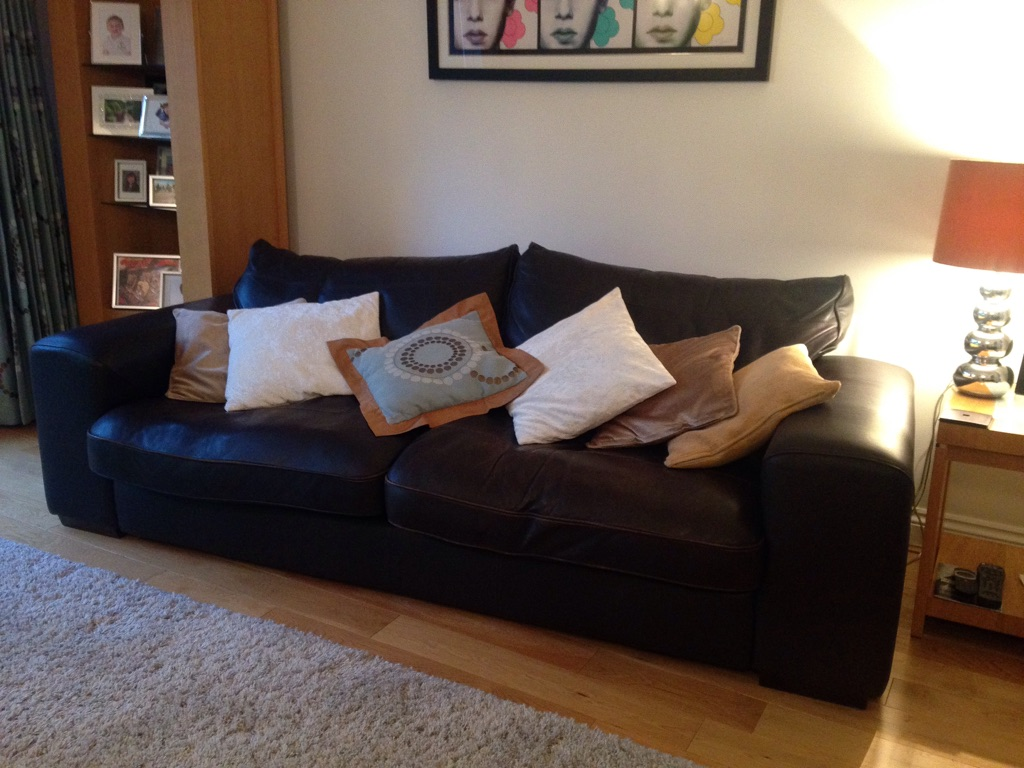 Two zennah style leather sofas in manhattan mocha brown - 3 & 2 seater