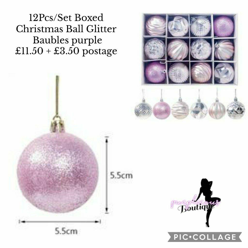 12Pcs/Set Boxed Christmas Ball Glitter Baubles purple