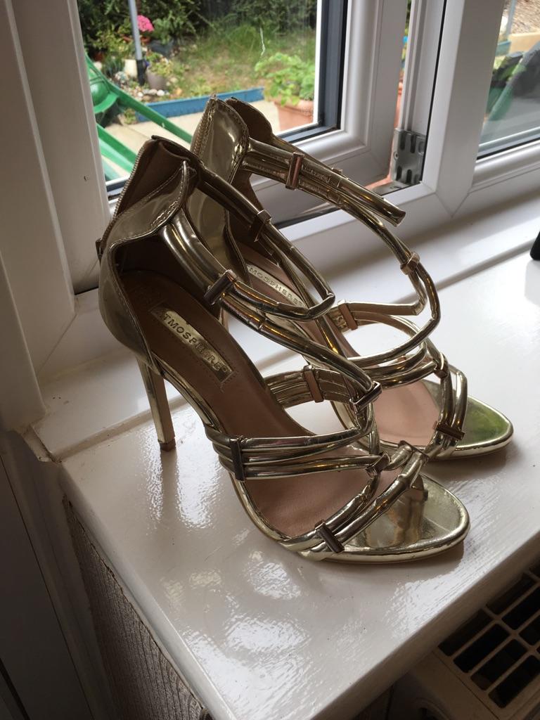 Gold high heels size 4