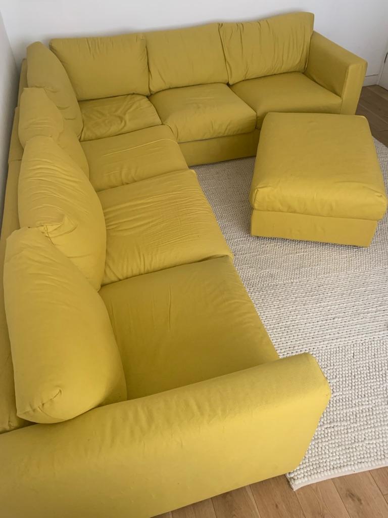 6 seater corner  sofa and footstool