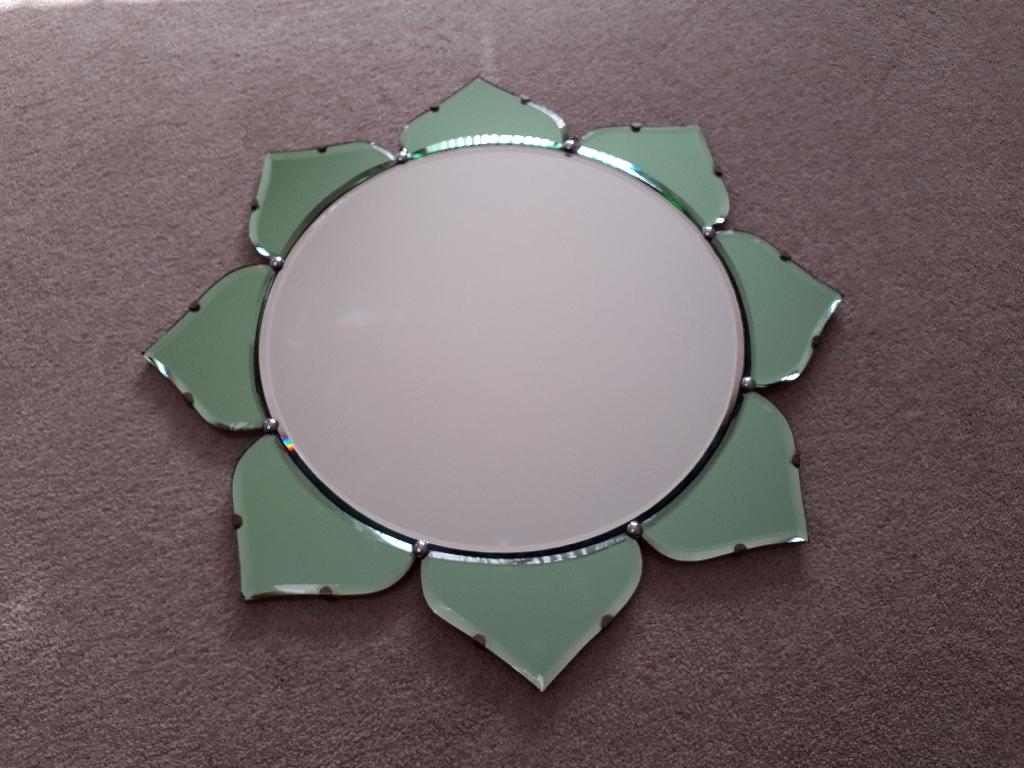 RARE Original Art Deco Green Mirror