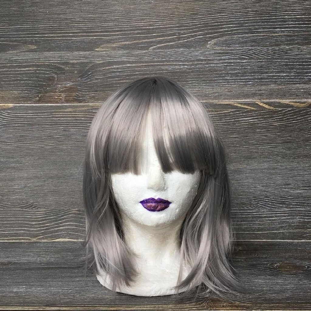 Silver synthetic hair wig