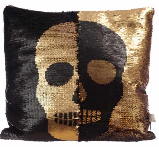 Sequin two tone skull design cushion