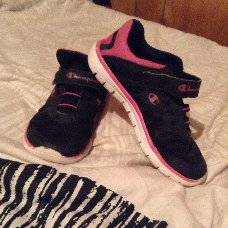 Black and pink champion tennis shoes