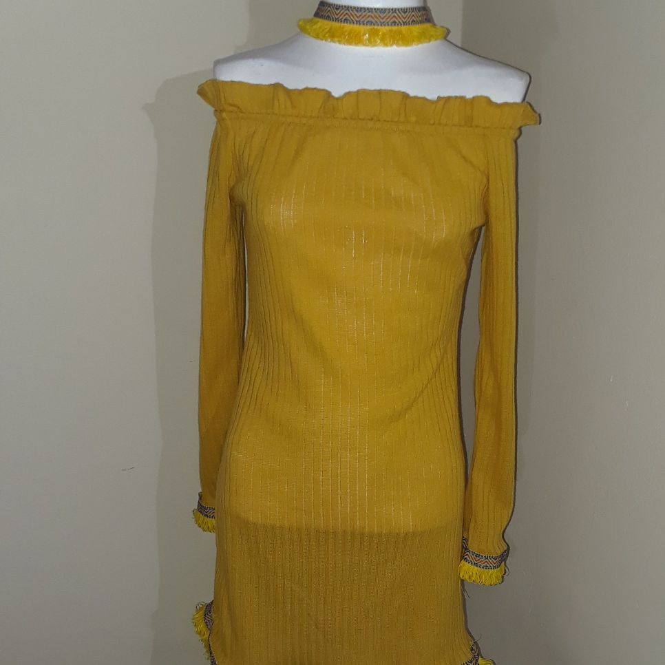 Yellow Tribal trim dress with tribal choker