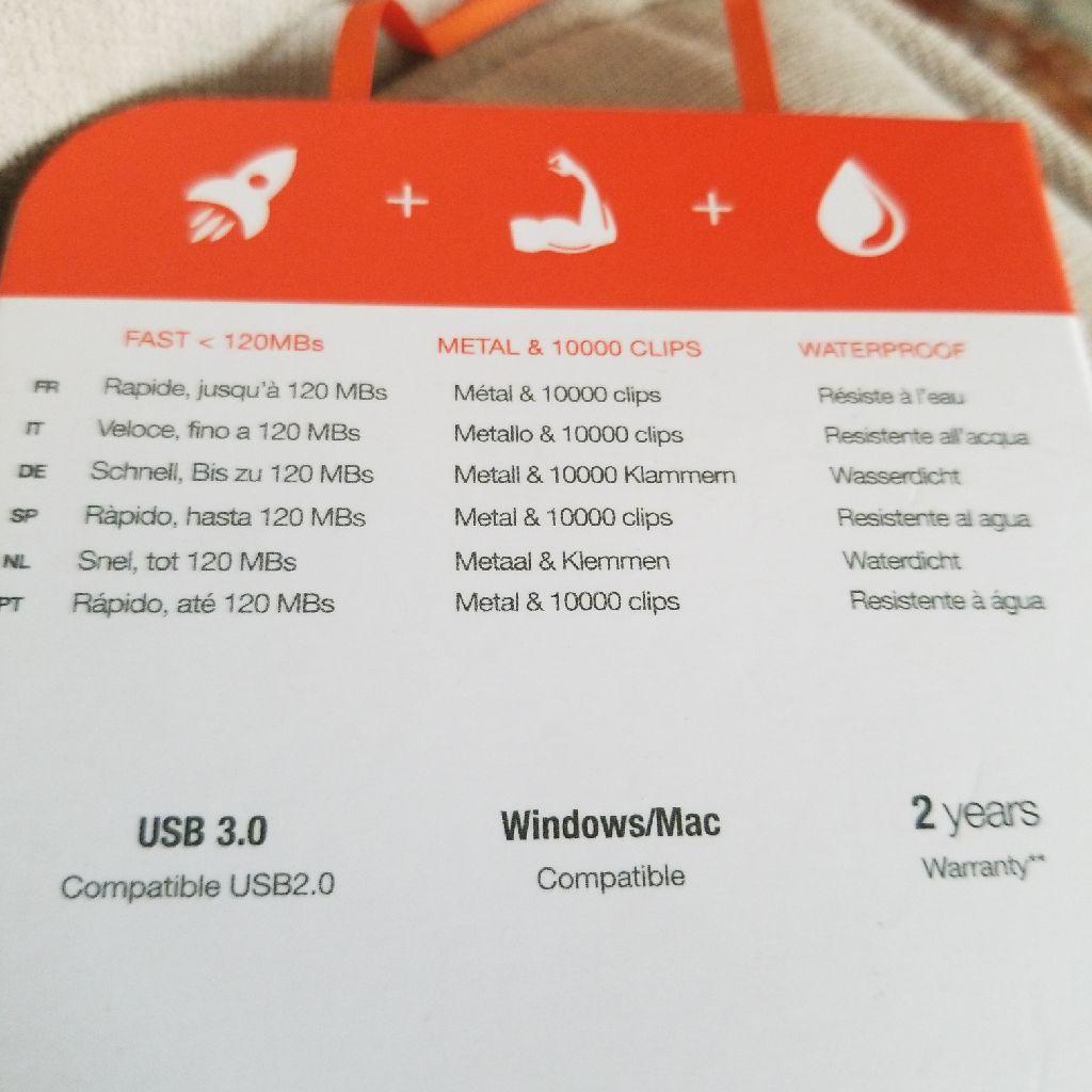 PKparis K'lip The First Mini Carabiner Key USB 3.0 Flash Drive - 128 GB, Silver/Orange