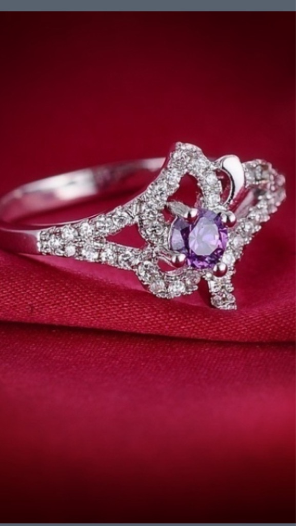 New fashion jewelry zircon white gold plated purple ring