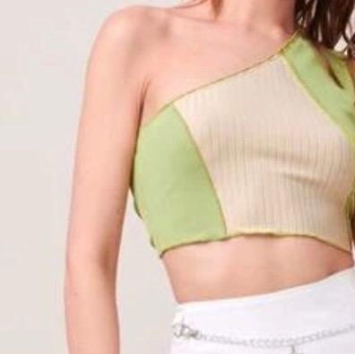 Gorgeous one shoulder color block crop top green Uk 10 medium size