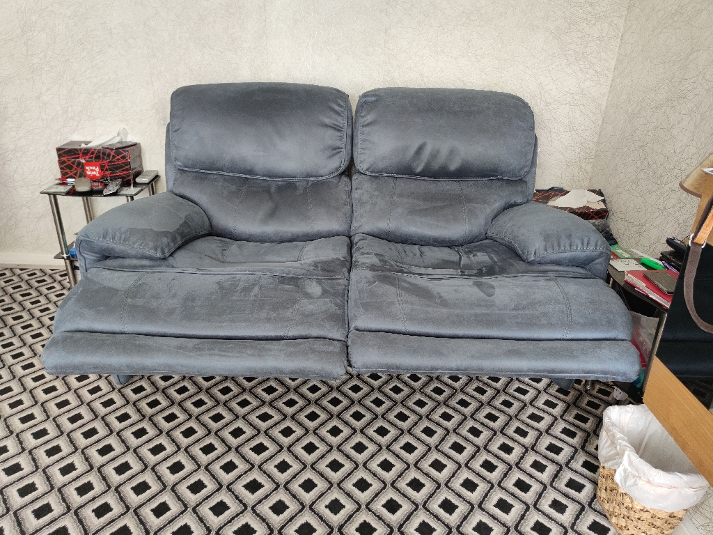 2x2 faux leather recliner sofas with power head rests