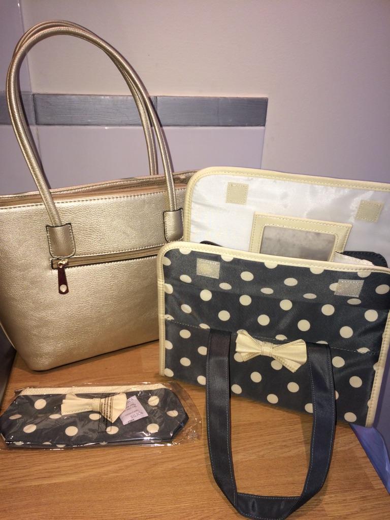 Brand new gorgeous gold bag, wash bag & make up bag