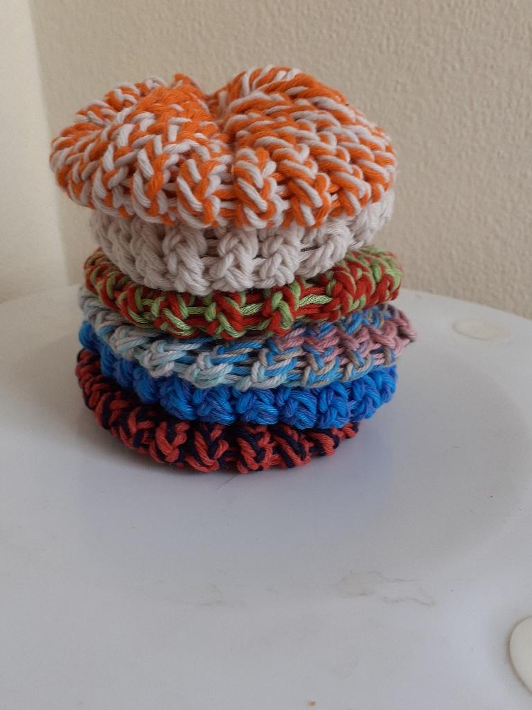 Handmade knitted cotton scrubbies each