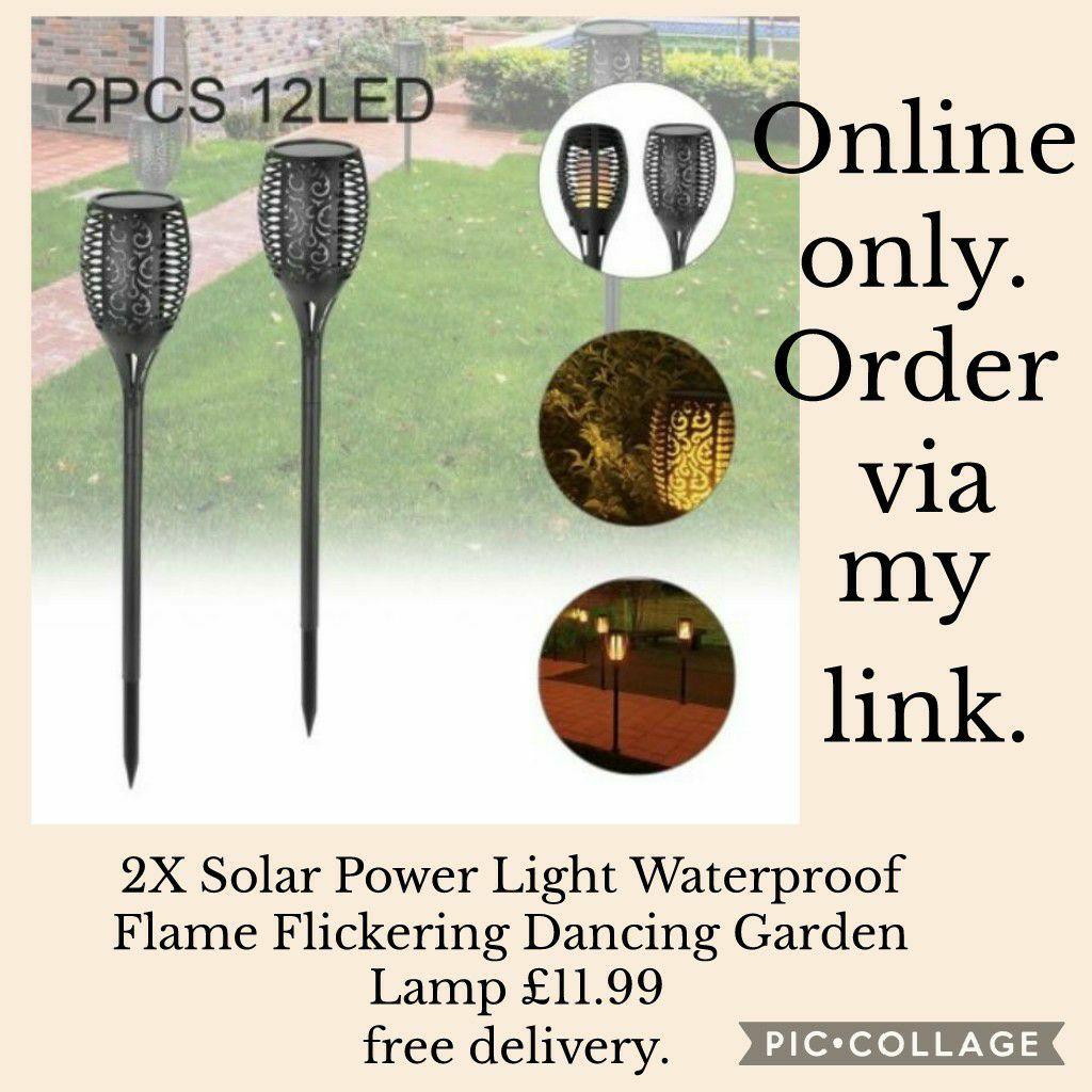 💥2X Solar Power Light Waterproof Flame Flickering Dancing Garden Lamp 💥£11.99 🚛free shipping