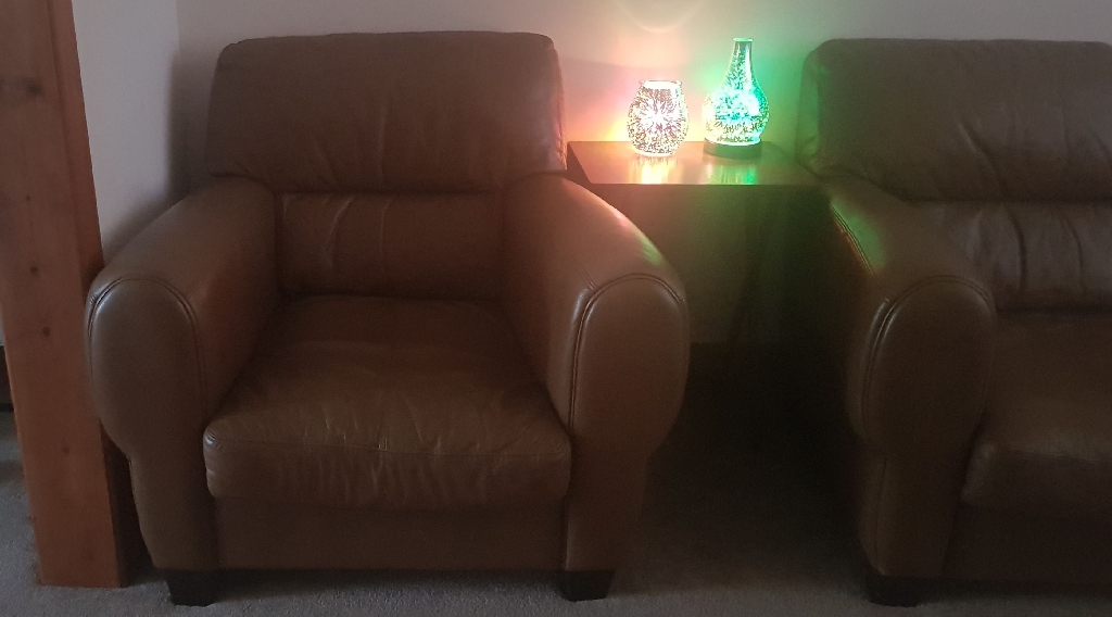 Dfs 3 seater and 2 one seaters and 2 foot  puffe