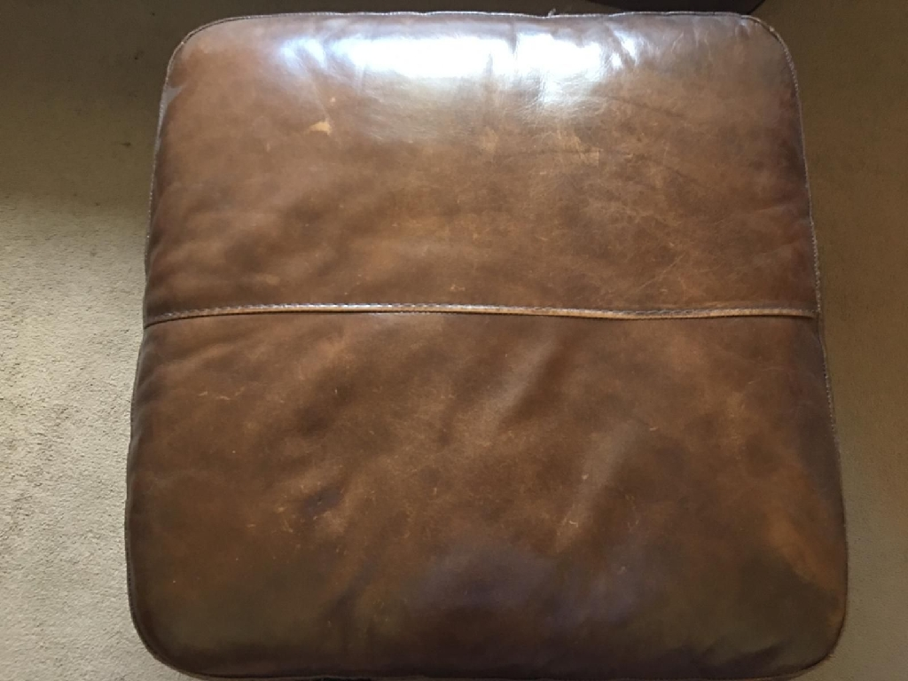 Brown Leather Sofas & Footstool