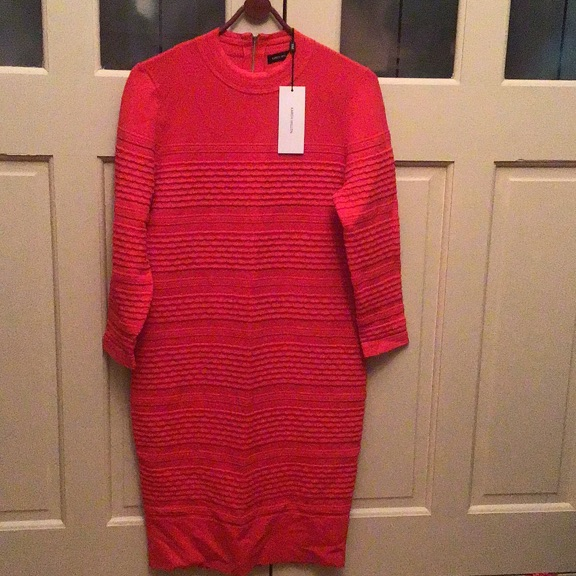Karen Millen sweater dress in bright red brand new with tags size large