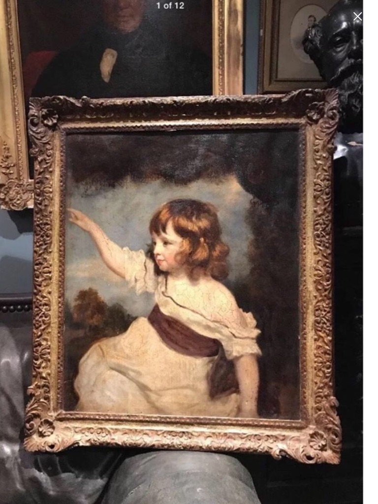 Antique oil painting on canvas master hare attributed to Sir Joshua Reynolds