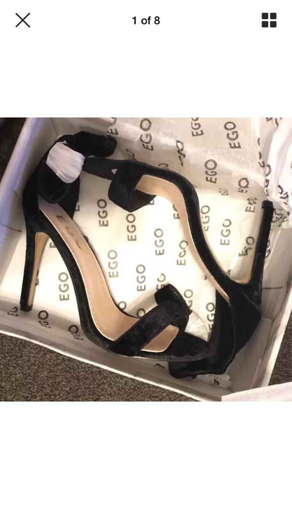 E14 3NH - Ego Shoes Vesenya Black Velvet Stiletto Heels