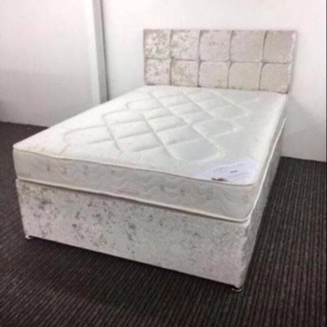 BRAND NEW CRUSHED VELVET DIVAN BED