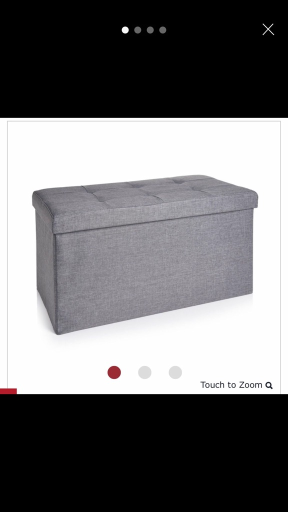 Grey faux linen ottoman/storage bench