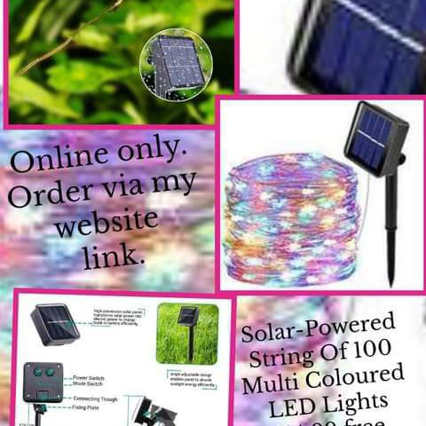💥Solar-Powered String Of 100 Multi Coloured LED Lights 💥£14.99 🚛Free postage