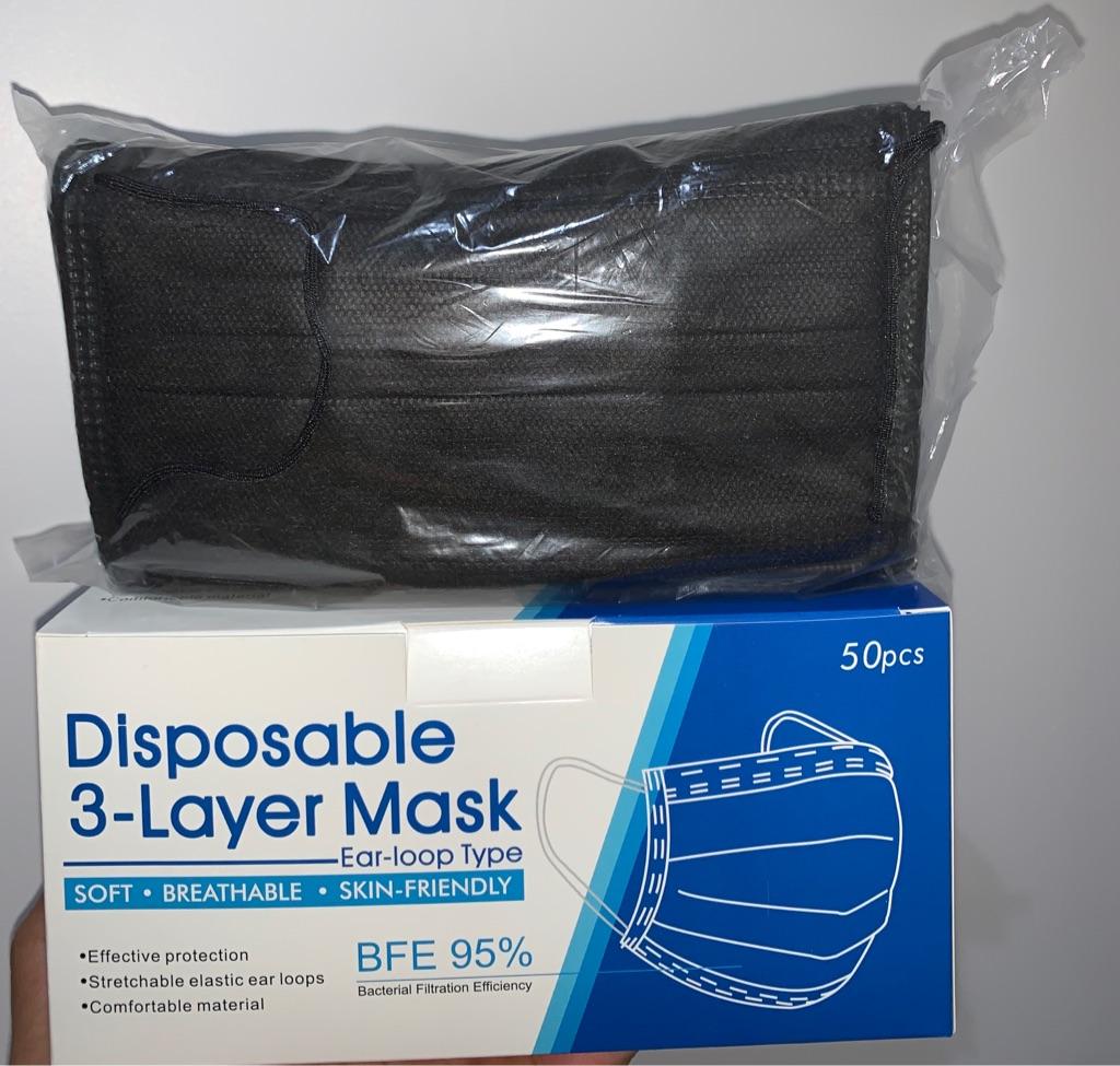 3 PLY   BLACK   EAR LOOP   DISPOSABLE MASKS