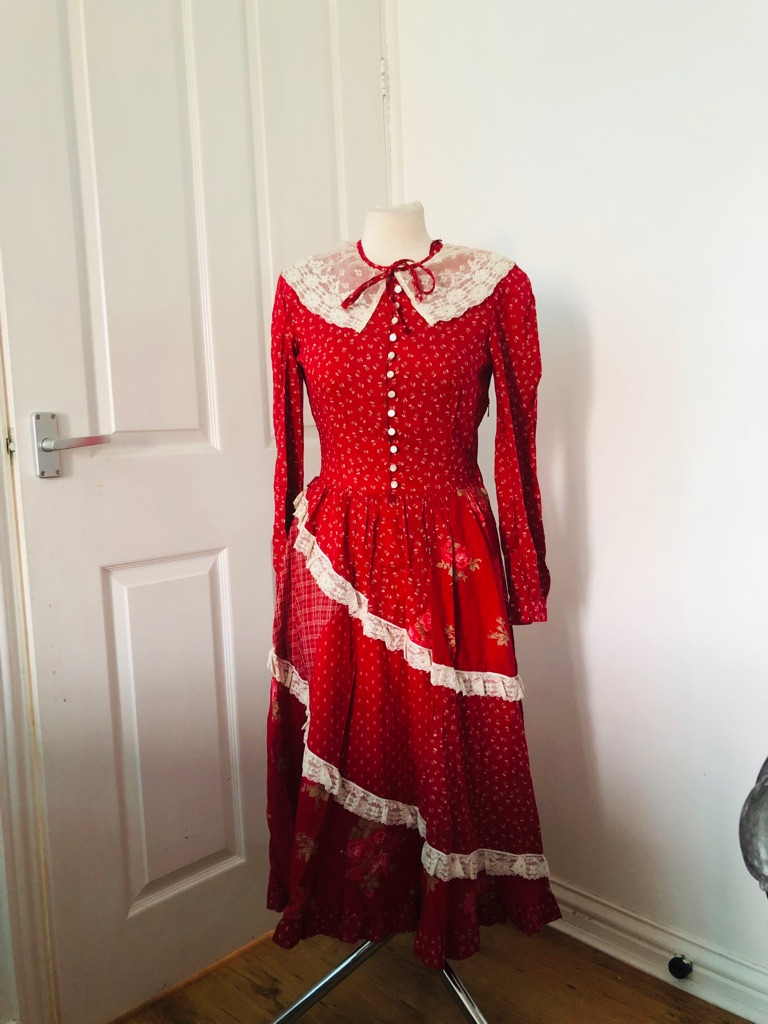 Women's red vintage maxi dress size M