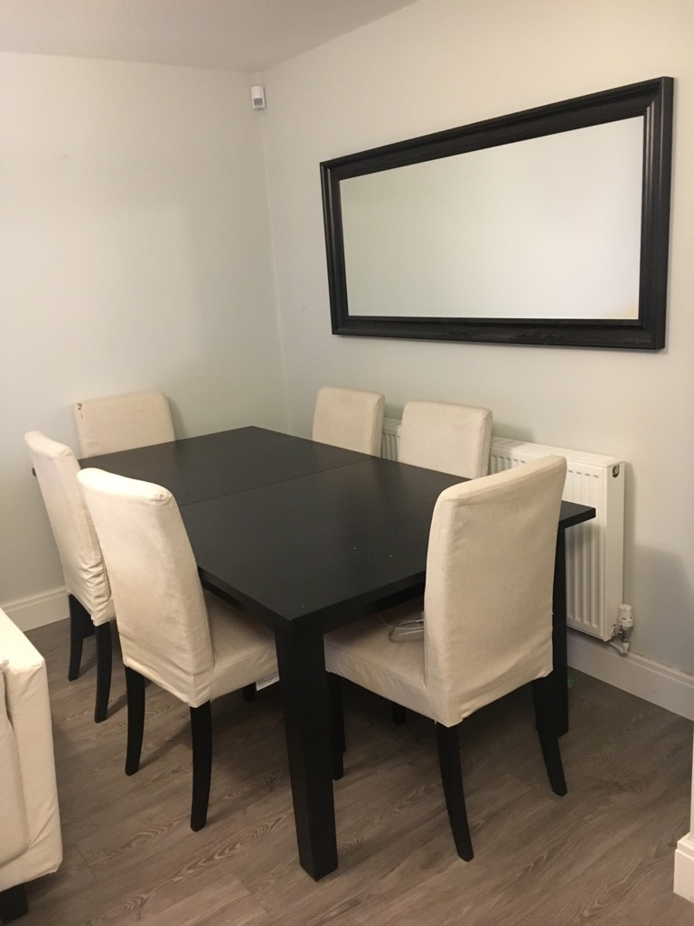 Table and Chairs (6 seater, black/brown)