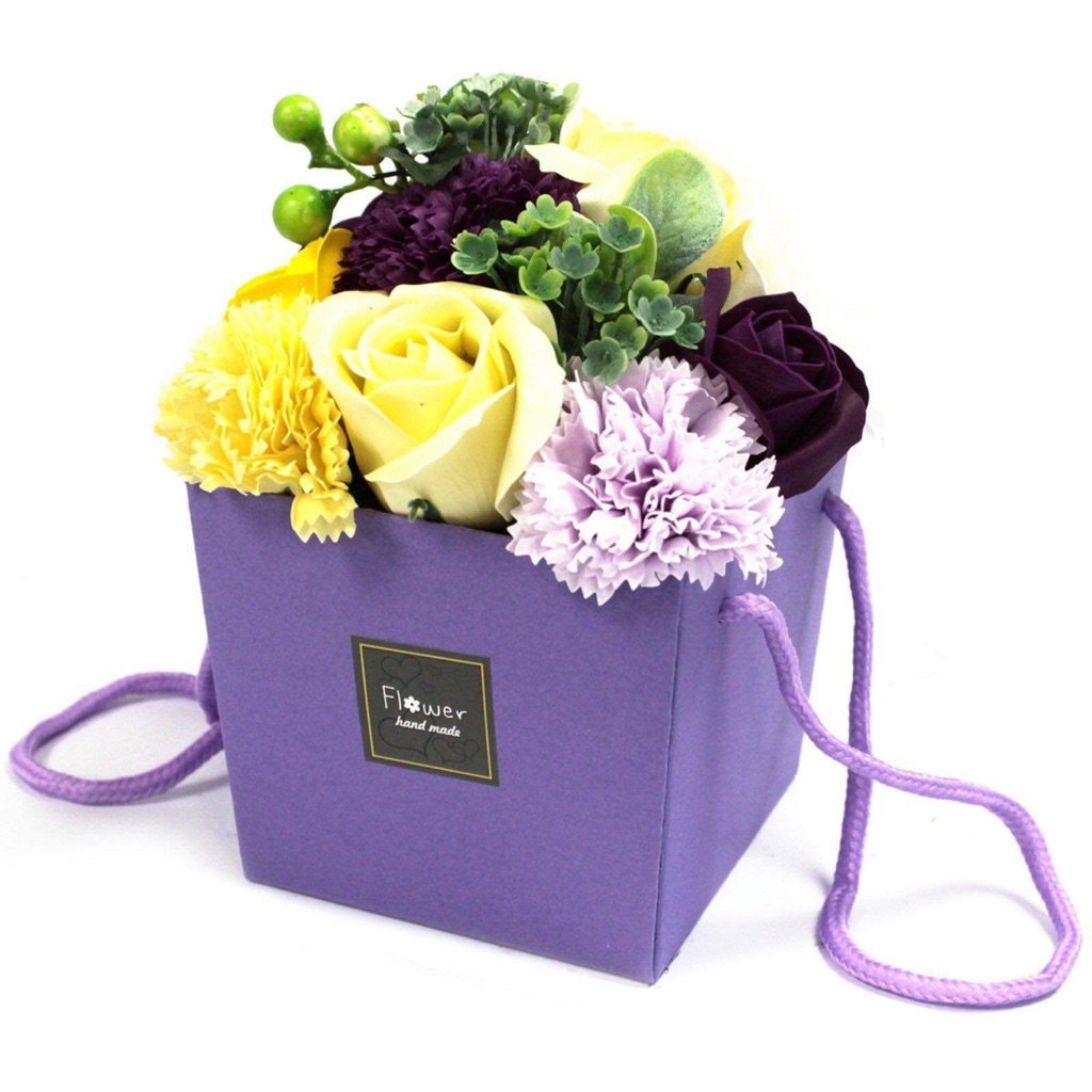 Purple and yellow flower soap box bouquet